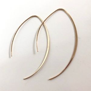 Anthropologie Thin Simple Gold Threader Earrings